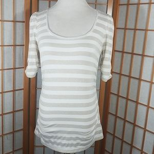 White House Black Market cream, gold striped top